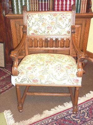 French Walnut Upholstered Arm Chair