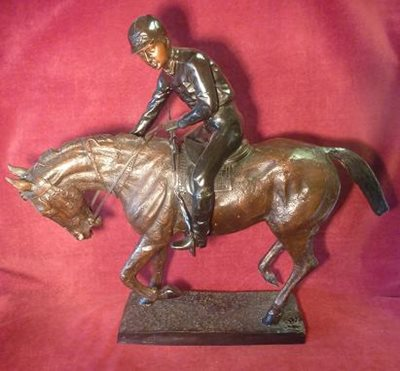 Bronze Sculptor Jockey and Horse